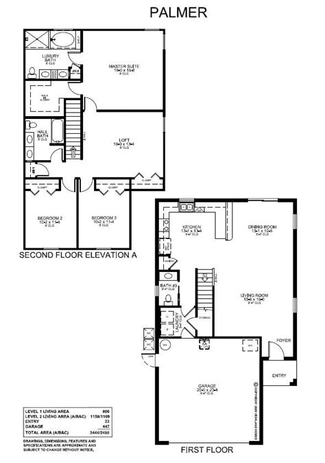 garage plans with living area a 1964 sq ft two story floor plan with 3 bedrooms 2 5
