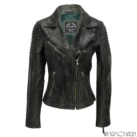 biker jacket womens vintage slim fitted leather biker