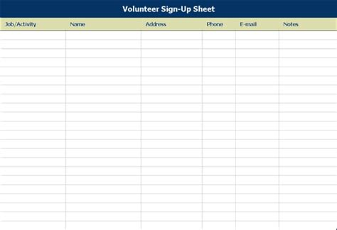 volunteer sign up sheet office templates