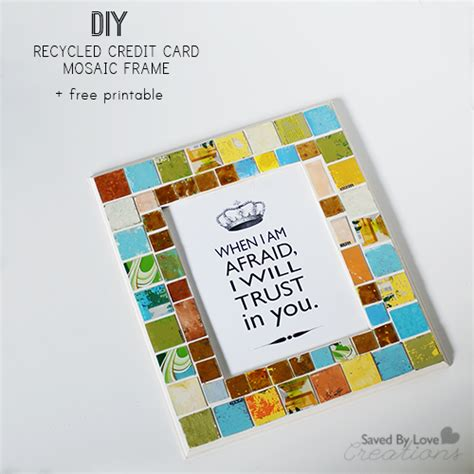 Gift Card Frame - mosaic frame from recycled gift cards free printable