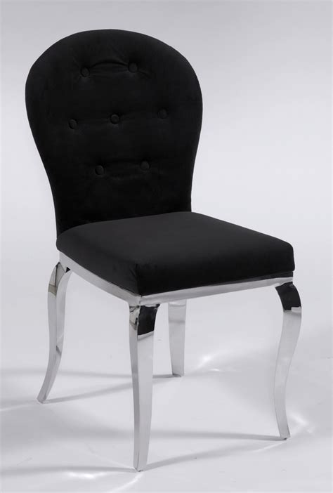 Black Microfiber Seat and Back Chair with Chrome Legs