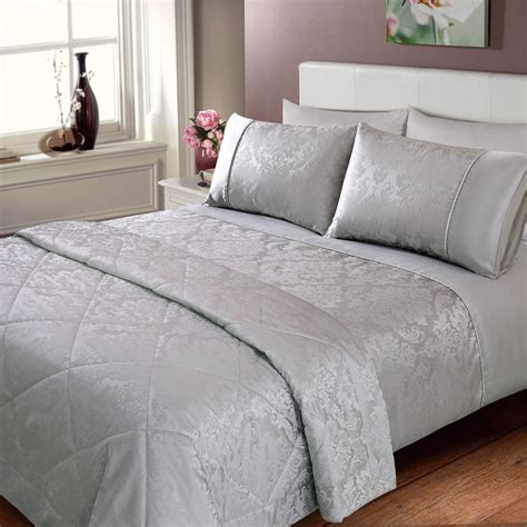 Bedspreads And Throws Elizabeth Jacquard Damask Bedspread Silver Bedding