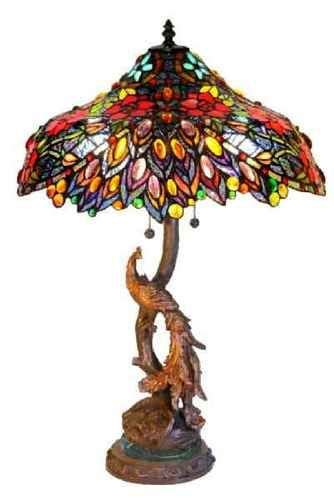 tiffany peacock base stained glass 27 quot table lamp last one