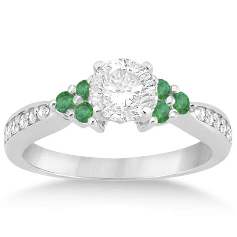floral and emerald engagement ring platinum 0