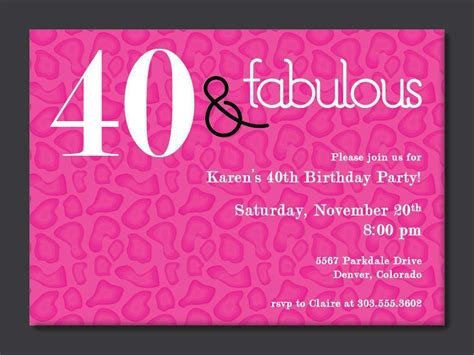 40th birthday card template 40th birthday invitations birthday invitations