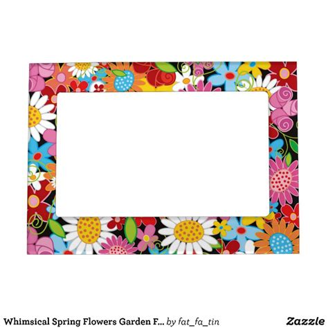 whimsical spring flowers garden floral frame zazzle