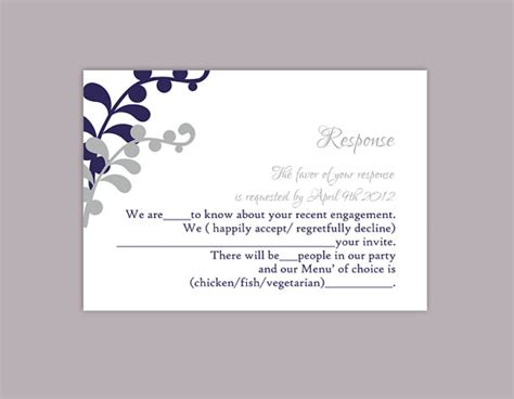 reply card wedding template diy wedding rsvp template editable text word file