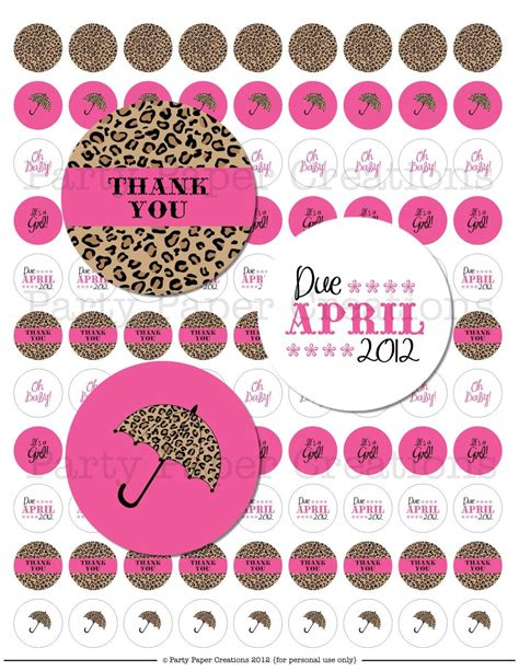 Pink Leopard Baby Shower by Leopard Print Baby Shower Kisses Sticker Label Collage