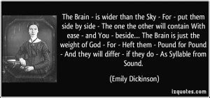 the brain is wider than the sky poem by emily dickinson emily dickinson quotes quotesgram