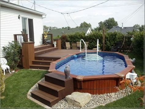 Above Ground Pool In Small Backyard by Best 25 Oval Above Ground Pools Ideas On