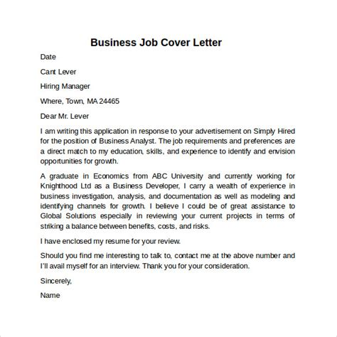 Cover Letter Example for Job   10  Download Free Documents
