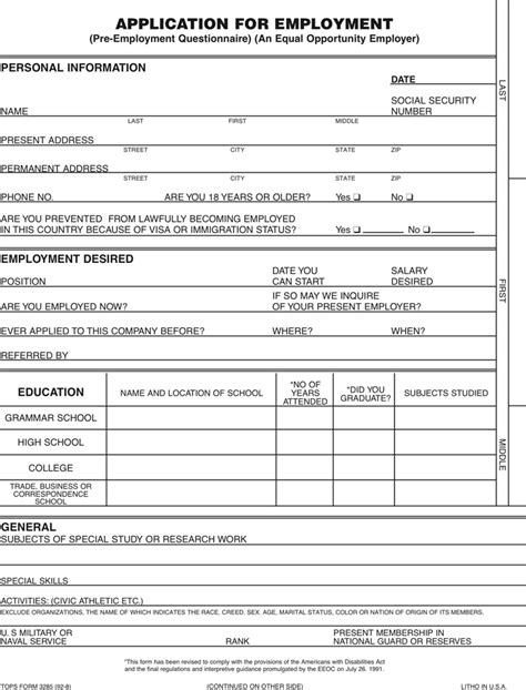 The Application For Employment Form Can Help You Make A Professional And Perfect Document Free Employment Application Template Florida