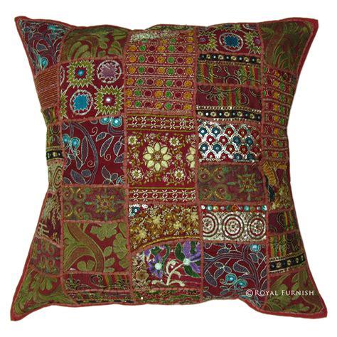 India Pillow by 24x24 Inch Large Indian Sari Patchwork Throw Pillow