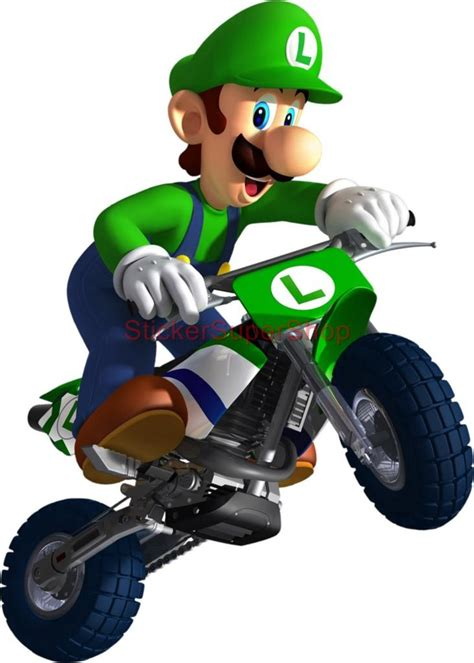 Super Mario Wall Stickers choose size luigi kart on bike bros decal removable wall