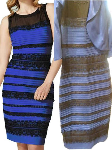 Blue And Black Or White And Gold Dress by Amazing Blue Black Or White Gold Lace Detail Bodycon Dress
