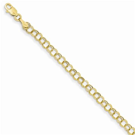 14k gold charm bracelet, hollow double link . Measures 7in x 4mm, weighs 1.4g