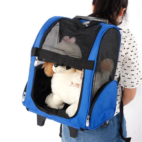 pet luggage box carrier cat backpack rolling wheel w removable stand blue ebay