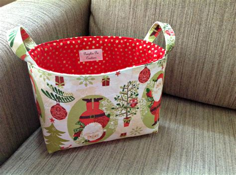 christmas tree santa fabric storage tub pumpkin pie