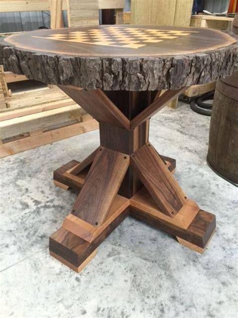 custom  chess table set   walnut tree slab