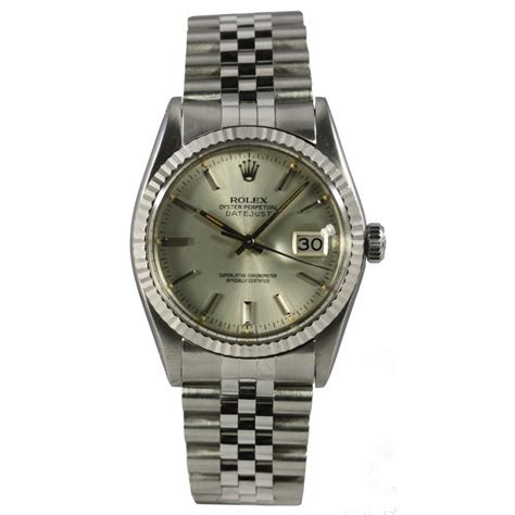 rolex pre owned s steel datejust 16014