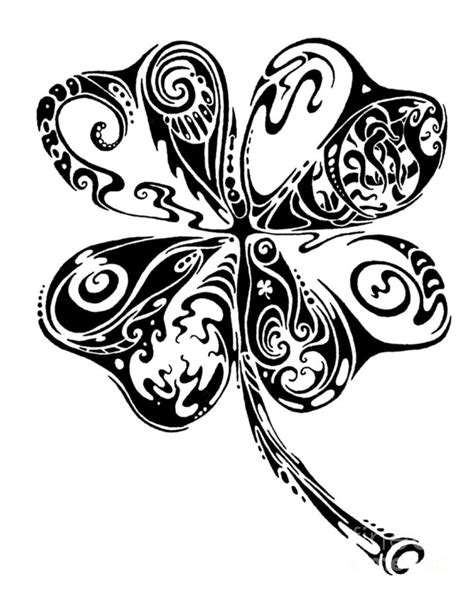 four leaf clover tribal tattoos tribal shamrock by benko