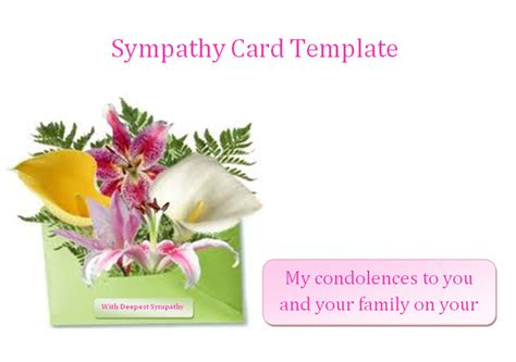 Condolences Announcements Sle Sympathy Card Template