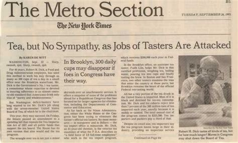 metro section of newspaper tempest in a teapot tea politics health tea regulation