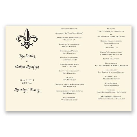 Tri Fold Program Paper - ecru trifold program invitations by