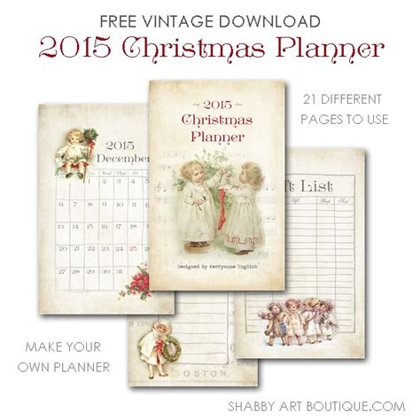 christmas planner free printable 2015 6th annual simply christmas shabby art boutique