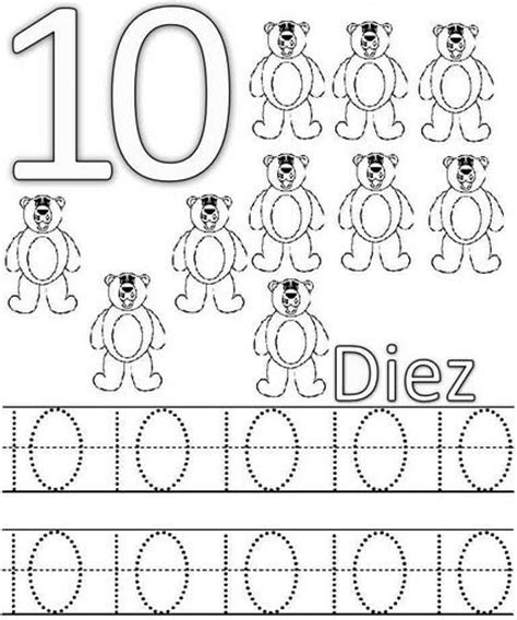 numbers tracing worksheets 10 for preschool printable coloring common worksheets 187 tracing number 10 preschool and