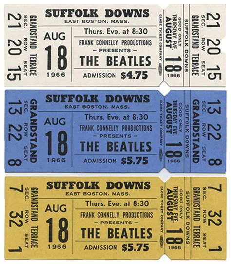 beatles tickets seating chart of three beatles suffolk downs concert tickets