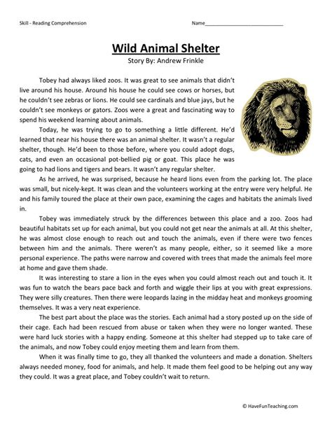 reading comprehension worksheet animal shelter