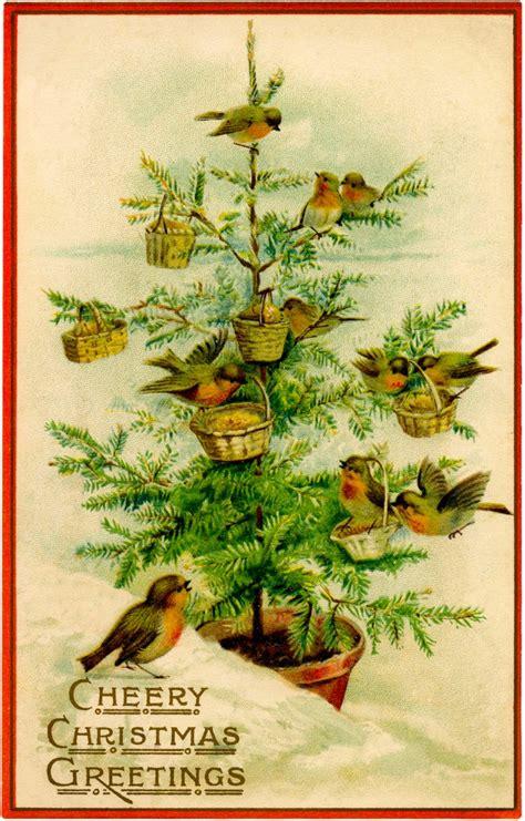 vintage birds christmas tree image charming the
