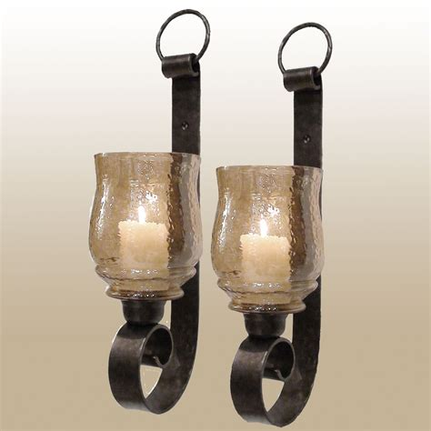Bronze Candle Wall Sconce dashielle hurricane wall sconce pair with candles