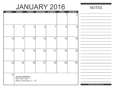 calendar notes template free printable calendars