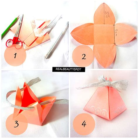 How To Make Gift With Paper - diy easy paper pyramid gift box theindianspot