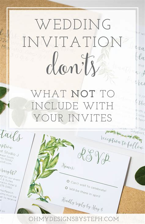what should i include in my wedding invitations what not to include on wedding invitations oh my designs by steph