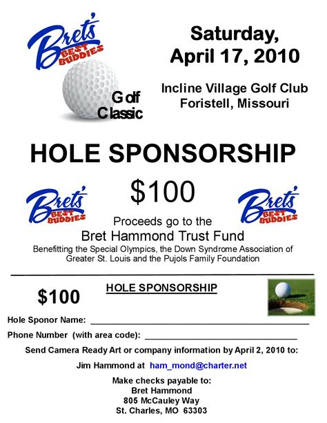 Sponsorship Letter Golf Bret S Best Buddies Golf Trny