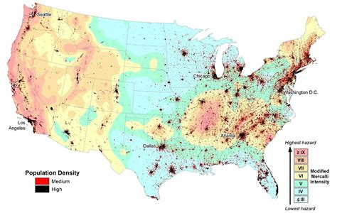 earthquake locations map reveals almost half of americans are at risk from