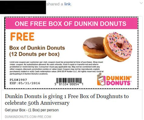 Dunkin Donuts Special August Coupons   Printable Coupons Online