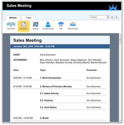 sales meeting minutes