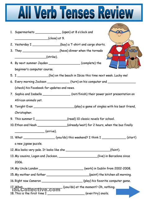Tenses Review all verb tenses fill in review 2 pages teaching