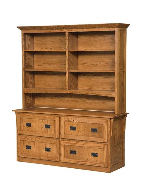 four drawer arts and crafts lateral file cabinet with bookcase