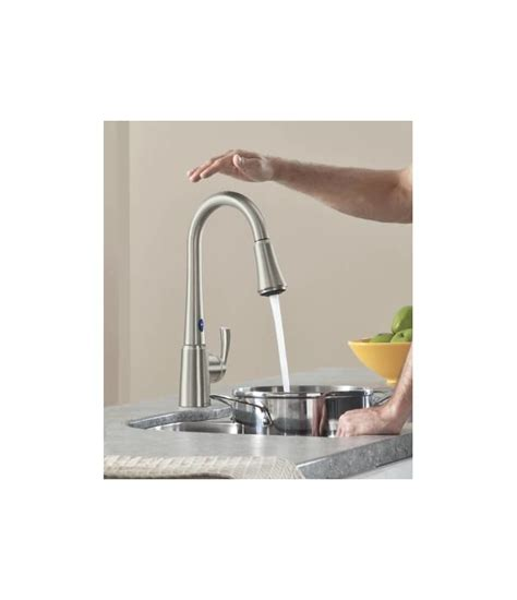 shop moen delaney with motionsense spot resist stainless 1 faucet com 87359e2srs in spot resist stainless by moen