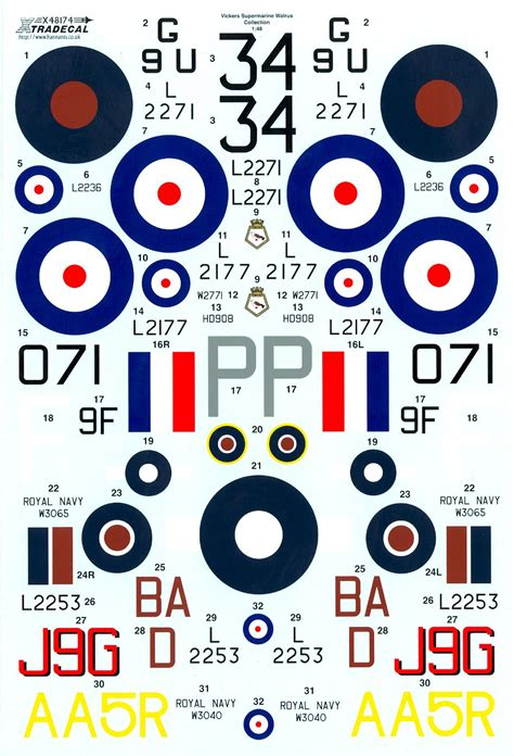 Xtra Decals 1/48 VICKERS SUPERMARINE WALRUS British Flying ... Xtra Decals