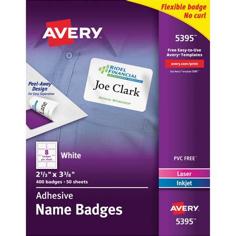 Avery 5395 Flexible Adhesive Name Badge Labels The Office Dealer Avery Name Badge Template