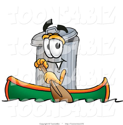 trash boat cartoon illustration of a cartoon trash can mascot rowing a boat