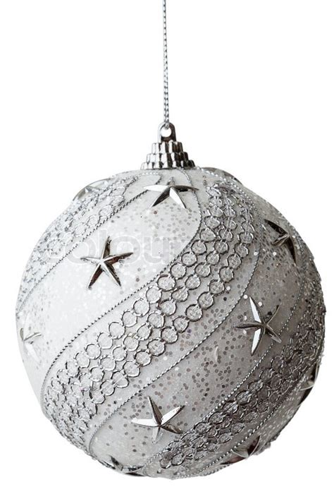 silver christmas bauble with clipping path stock photo
