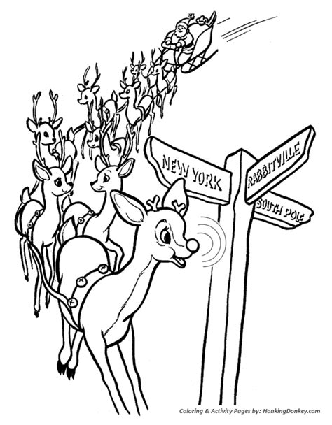 coloring page reindeer pulling sleigh rudolph the red nosed reindeer coloring page coloring home