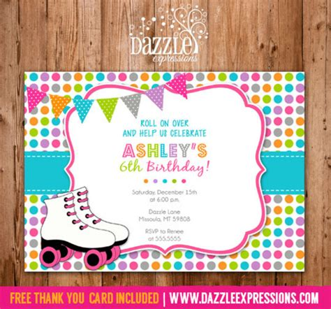 skating invitation template free printable polka dot roller skating birthday invitation